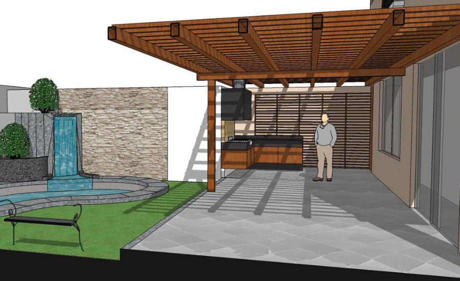 Diseño De Terraza Con Parrilla En Jardín De Casa
